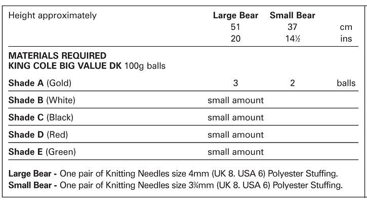 King Cole Pudsey Bear Toy Knitting Pattern 1001